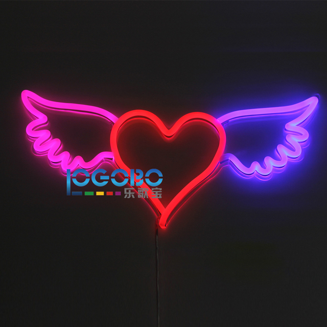 aliexpress com buy flex led neon sign angel wing heart pink red