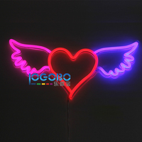 Flex Led Neon Sign Angel Wing Heart Pink Red and Blue Custom Made Business Logo or Home Bedroom Wall Flashing Art Neon Sign Lamp