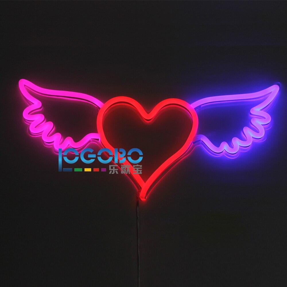 Flex led Néon Signe Aile D'ange Coeur Rose Rouge et Bleu fait sur mesure logo d'entreprise ou Accueil Chambre Mur Clignotant Art Néon signe Lampe