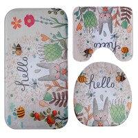 Fine Joy Lovely Rabbit Printed Bathroom Carpet Toilet Mat Anti Slip Carpets Bath Mats Rugs For