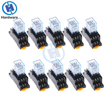 10Pc MY4NJ 14PIN 4DPDT Electronic Micro Mini Electromagnetic Relay 5A Coil With PYF14A Socket Base DC12V DC24V AC110V 220V
