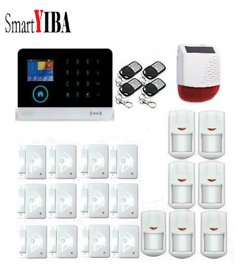 SmartYIBA Multi Language 3G GPRS Alarm System WIFI Solar Siren Surveillance Infrared PIR Motion Sensor For Wireless Alarma Kits