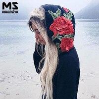 Mooishe Spring Casual Women Floral Embroidered Hoodies Long Sleeve Loose Black Flower Women Long Hoodies Sweatshirt