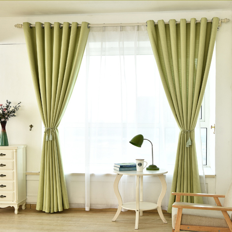 Simple Modern Blackout Curtains For Living Room Printed Cloth Curtain Green Short Curtains