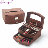 Guanya Portable Fashion Fanshaped Jewelry Box With Drawer For Jewelry Storage Princess Dressing Gifts For Wedding Birthday