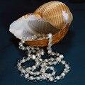 Venta caliente Elegante de largo irregular natural blanco barroco collar de perlas de cristal de joyería de moda