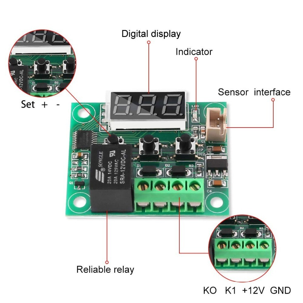 2PCS Temperature Controller Module XH W1209 Display Digital Thermostat Module With Waterproof NTC Probe