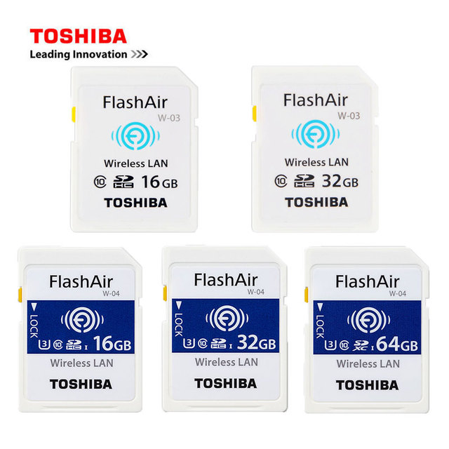 TOSHIBA FlashAir W 03 32GB 16GB SDHC Wireless W 04 64GB SDXC WiFi SD Card  UHS I Class 10 U3 Flash Memory Card For Digital Camera-in Memory Cards from