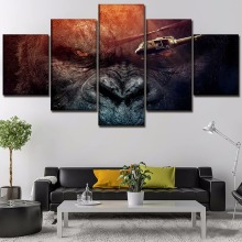 5 Panel Canvas Print Movie Kong Skull Island King Kong Painting For Living Room Pictures Wall Art Home Decor Modern Artworks стоимость