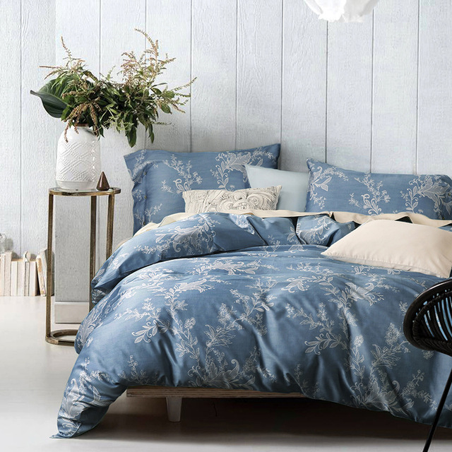 Chausub Luxury Bed Linens Duvet Cover Set 4pcs Satin Cotton Bedding Sheets Pillowcase King Queen Size Blue