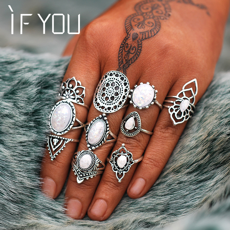 IF YOU Vintage Stone Opal Rings Set Bohemian Geometric Antique Silver Color Knuckle Shield Ring Set For Women Fashion Jewelry
