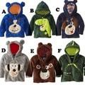 EMS DHL Free shipping Baby girls Boys Cute Cartoon Fleece Hooded Coat Autumn Winter Zip Coat Outwears 6 Designs