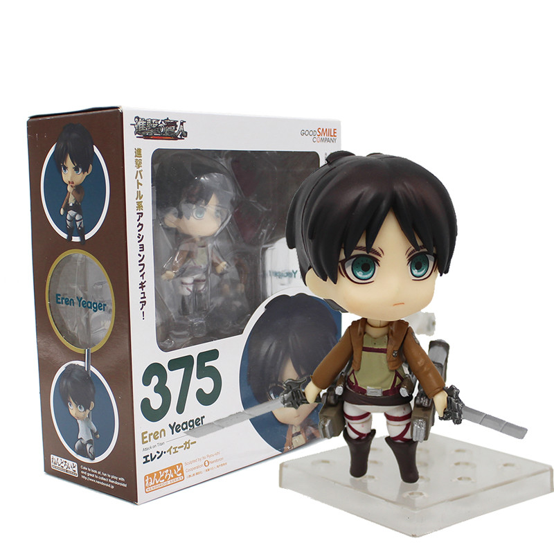 Anime Cute Nendoroid Attack on Titan Eren Jaeger #375 PVC Action Figure Collectible Model Toy Doll 10CM new hot christmas gift 21inch 52cm bearbrick be rbrick fashion toy pvc action figure collectible model toy decoration