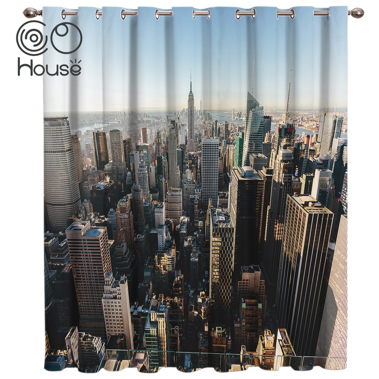 COCOHouse City New York Landscape Room Curtains Large Window Window Curtains Dark Window Blinds Living Room Kitchen Indoor Print
