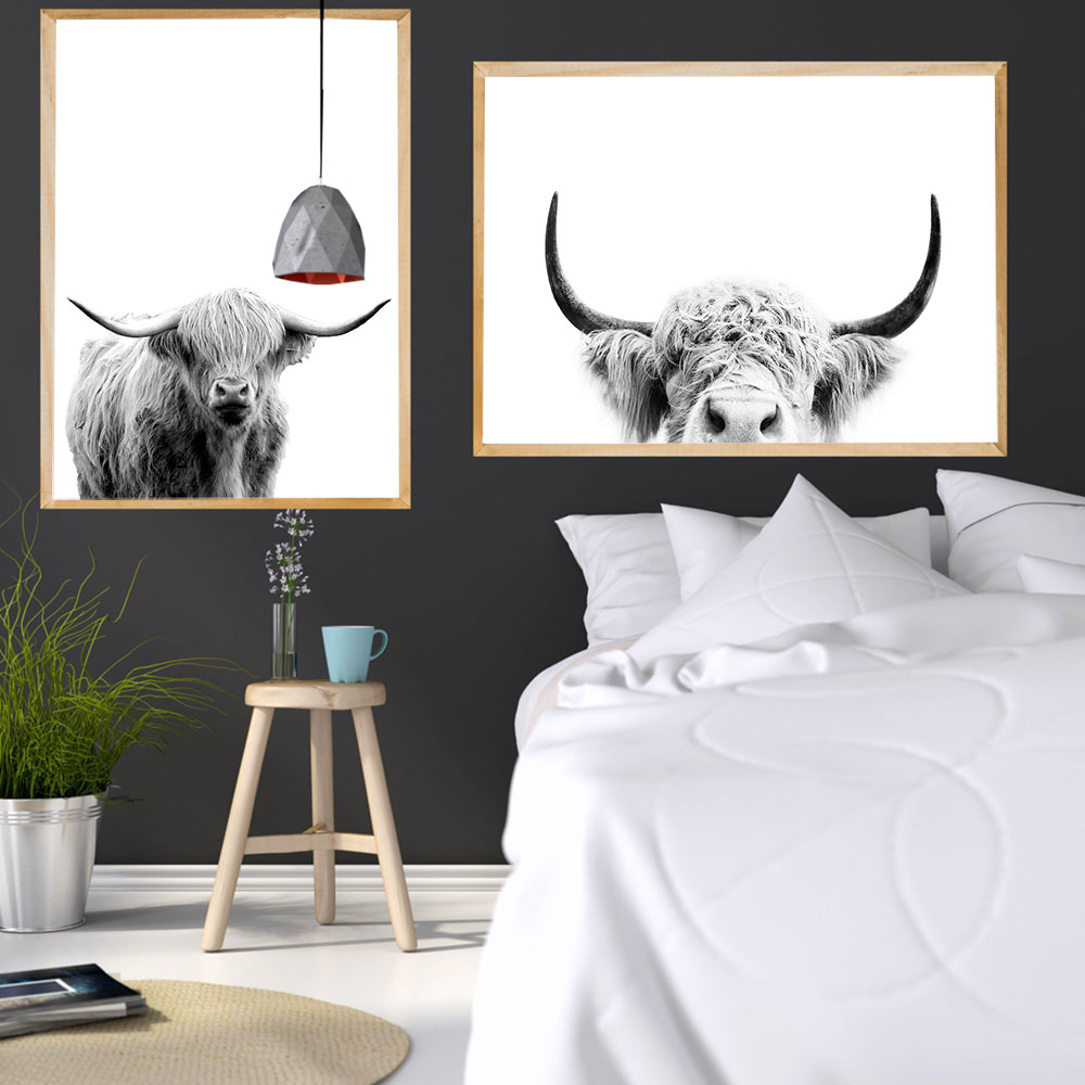 Print Grey Cow Wall Art Canvas Painting