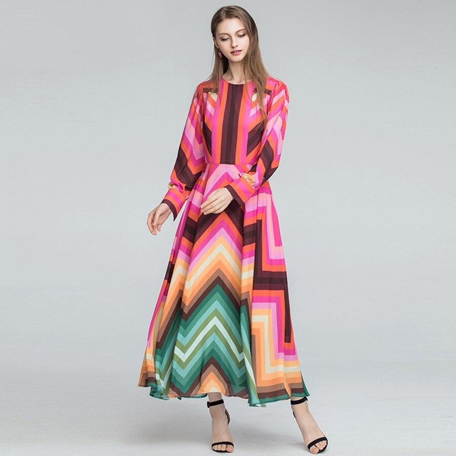 AELESEEN Boho Jurken 2019 Fashion New Runway Elegant Lange Mouwen Geometrische Gedrukt Contrast kleur Regenboog Zomer Lange Jurk-in Jurken van Dames Kleding op  Groep 2