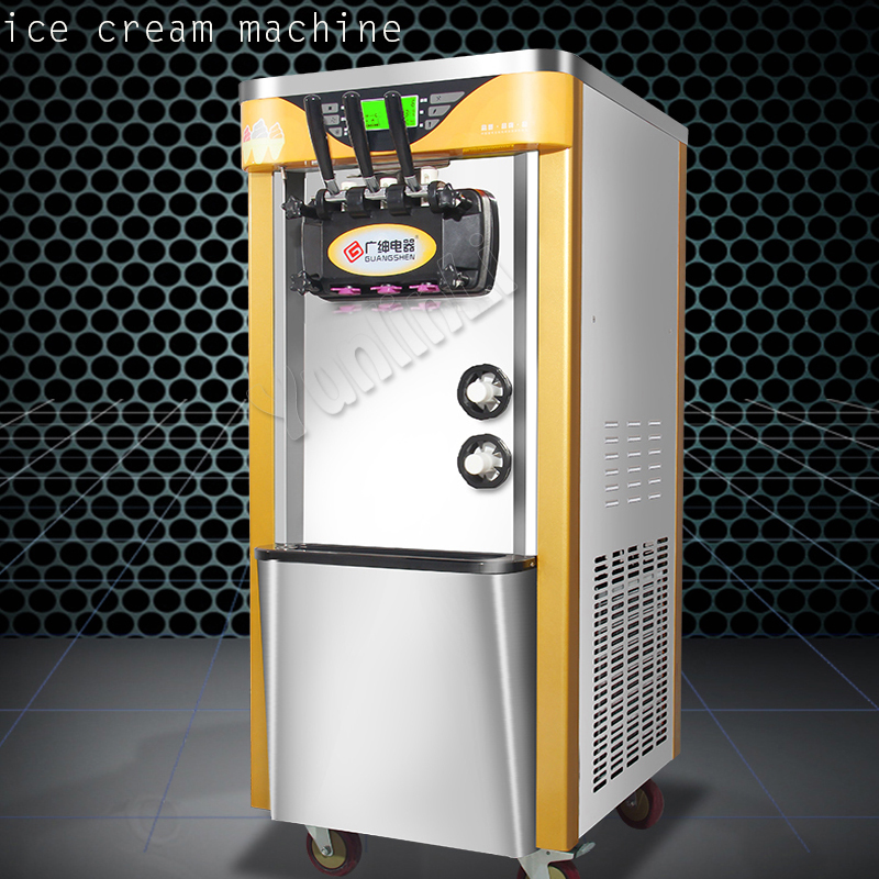 цена на Commercial 2100W soft ice cream machine automatic vertical all stainless steel 3 - color soft ice cream maker 220V BJH228CWD2