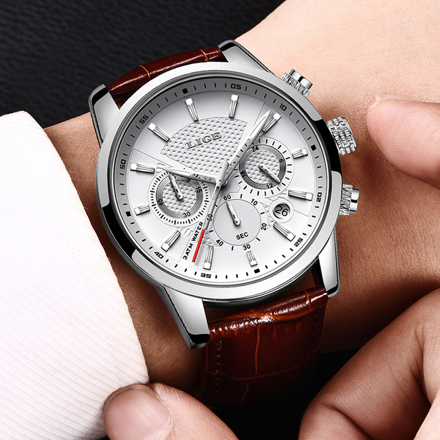 LIGE Men Fashion Sport Quartz Luxury Leather Business Waterproof Watch 4