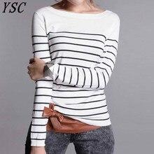 YSC Hot sprzedaży w stylu klasycznym damska dzianina kaszmirowa sweter z wełny czarno białe paski utrzymać ciepło wysokiej jakości swetry