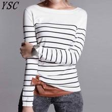 YSC pull en laine cachemire tricotée pour femmes, style classique, à rayures noires et blanches, garde au chaud, de haute qualité, offres spéciales