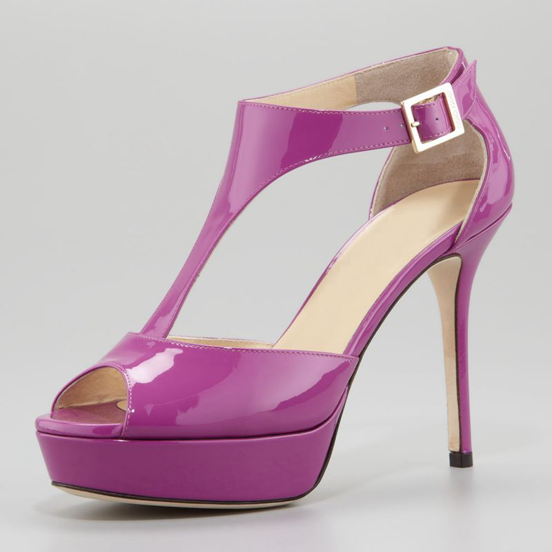 Purple Super High Heels T-Strap Woman Sandals Platform Open Toe Patent Leather Shoes Summer Zapatos Mujer Custom-Color  summer women sandals open toe matte shiny leather t strap buckle high heels platform sandalias mujer fashion shoes woman