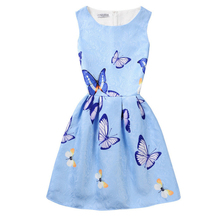 Lady Style Girls Dress Sleeveless Butterfly Floral Print Teenagers Dresses for Girls Designer Formal Party Dress