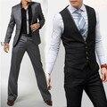 2016 новое прибытие мужчины терно masculino роскошный Бизнес Платье, случайные смокинги для мужчин из трех частей костюмы куртка + брюки + жилет