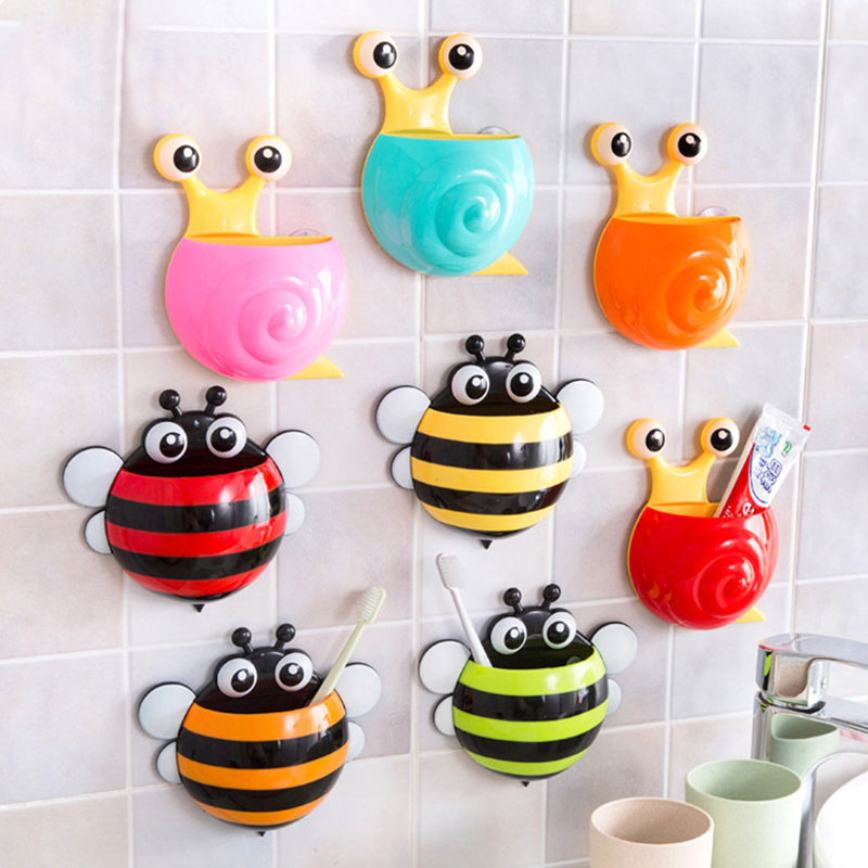 Super Deal Toothbrush Holder Set Family Set Wall Bee Mount Rack Bath toothbrush holder bathroom accessories image