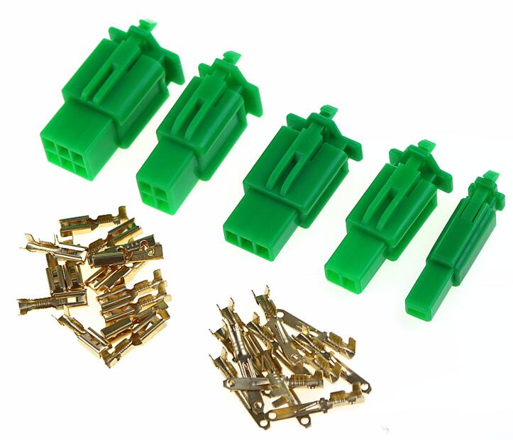 2.8mm 1/2/3/4/6 Pin Automotive 2.8 Electrical Wire Connector Male Female Cable Terminal Plug Kits Motorcycle Ebike 1set Green