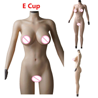 E/C Cup Solid Silicone Boobs Vagina Bodysuit for Crossdresser with Sleeves and Breast form Buttocks Pad Breast Plate Fake Pussy