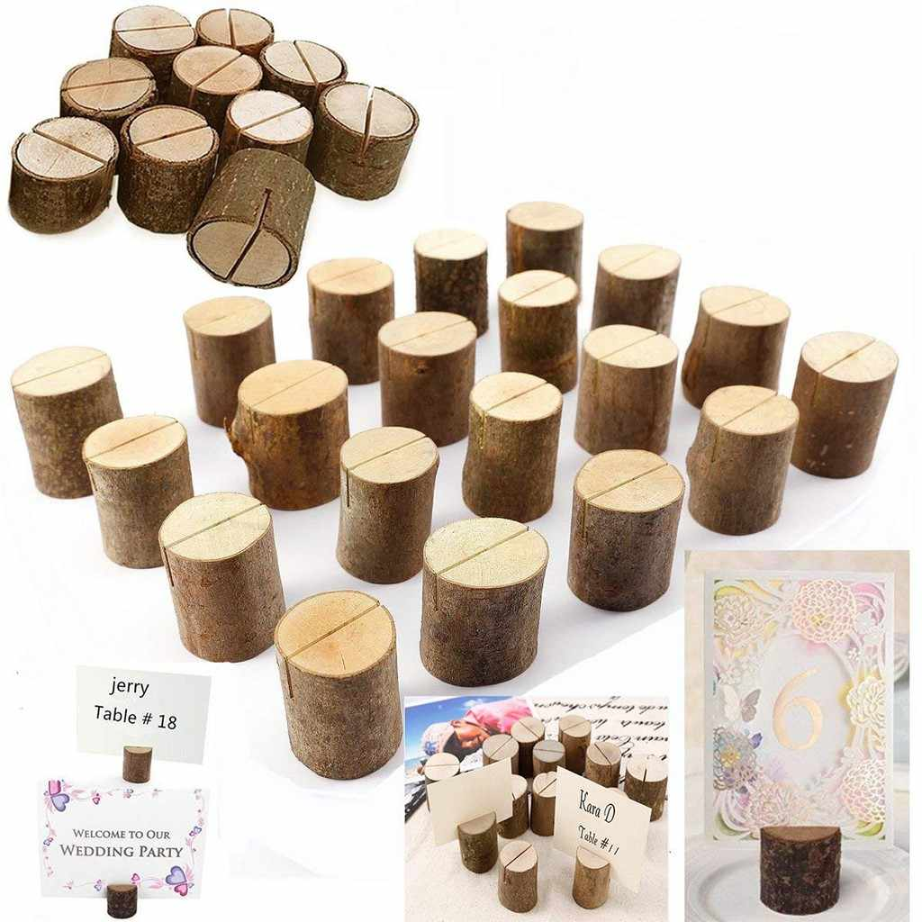10pcs Wood Pile Name Place Card Photo Holders Natural Wooden Stump Shape Menu Number Clip Stand Wedding Party Table Decor #T200