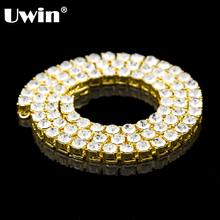 Uwin Men's Gold And Silver Color 1 Row Necklace Clear CZ Iced Out Big Bling Rhinestone Tennis Chains Hip Hop 8mm 30inch Chains