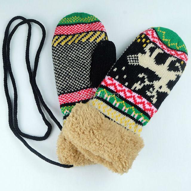 Invierno cervatillo navidad de punto guantes de ganchillo guantes ...