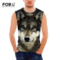 FORUDESIGNS Summer Tank Top Men Clothing And Fitness 3D Pit Bull Dog Wolf Pug Mens Sleeveless