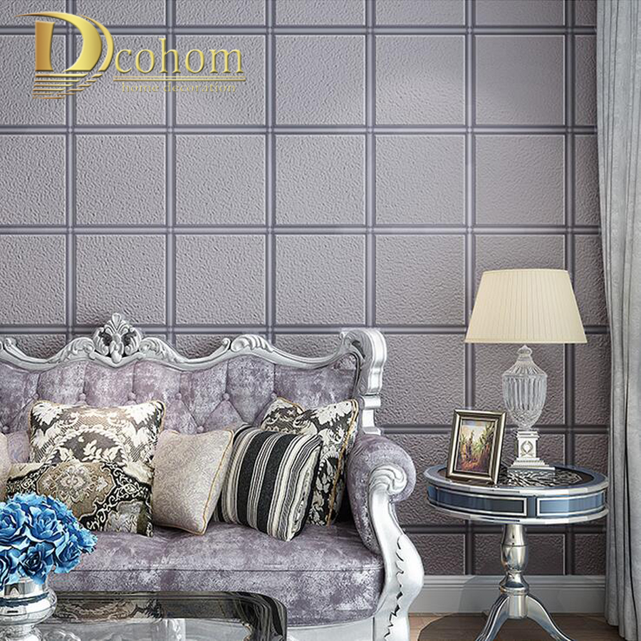 gruesa flocado moderno simple mosaico a cuadros d papel tapiz para paredes techos decoracin casera de
