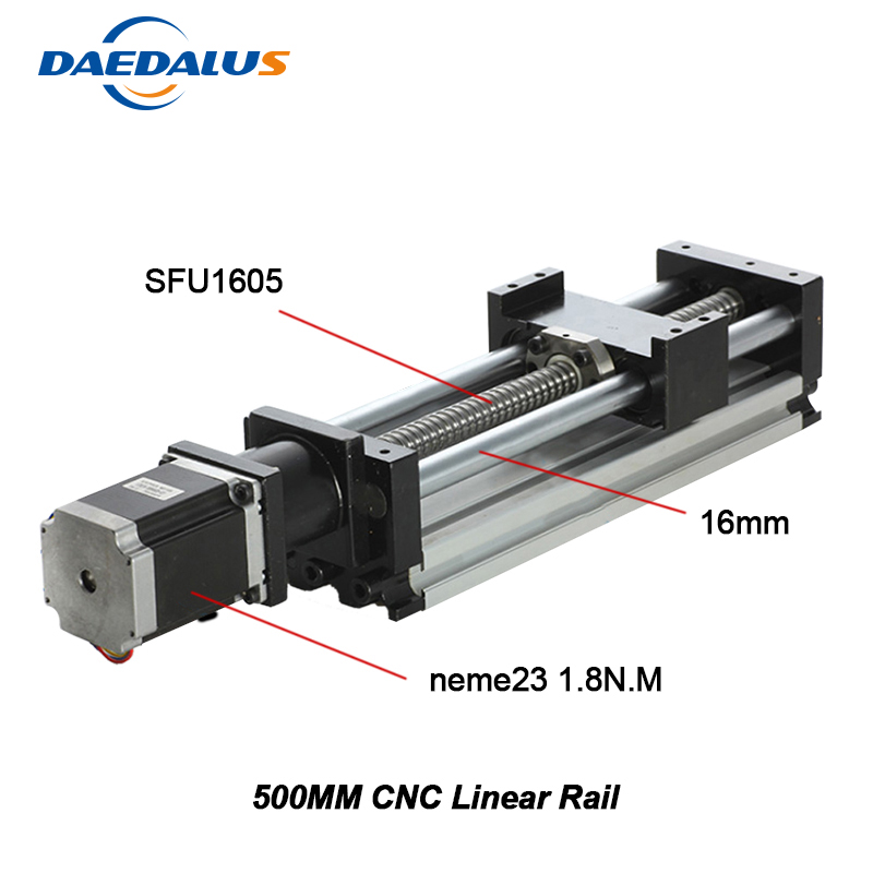 2018 Top Fashion Sale Cnc Part 1605 500mm Linear Guide Rail 16mm Rod Cnc + Nema23 Stepper Motor Mould Stage cnc linear guide 700mm linear mould sfu1605 rail part nema23 stepper motor 57 motor for cnc work table
