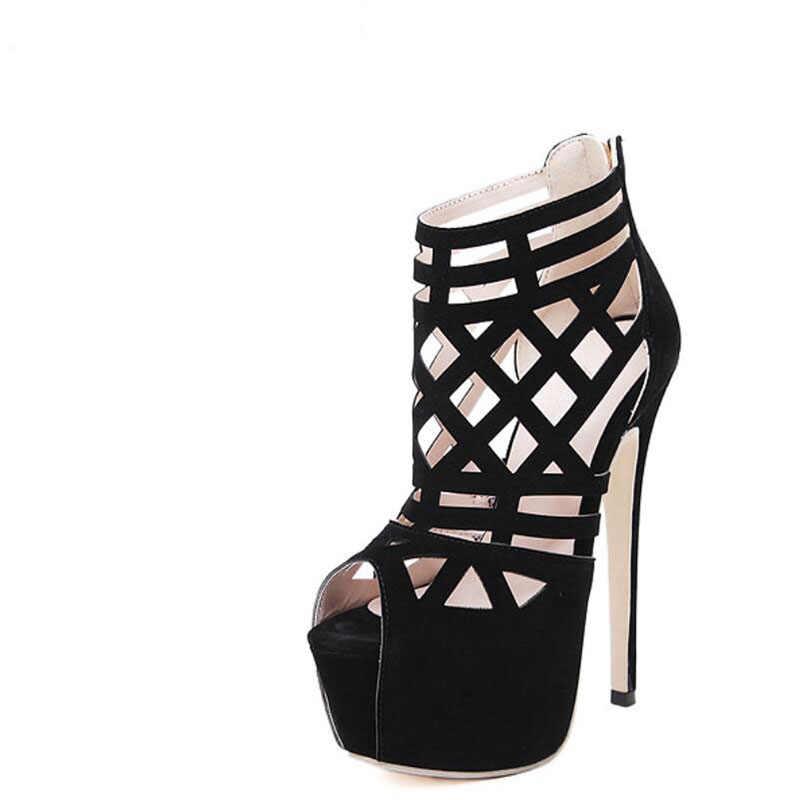 2017 nuovi Alla Moda di vendita calda pelle scamosciata delle Donne Romane scarpe Scava fuori 16 centimetri tacco alto Fishmouth piattaforma impermeabile femminile sandali