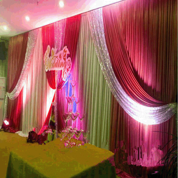 High Quality 3x6m Wedding Backdrop Sequins Swags D