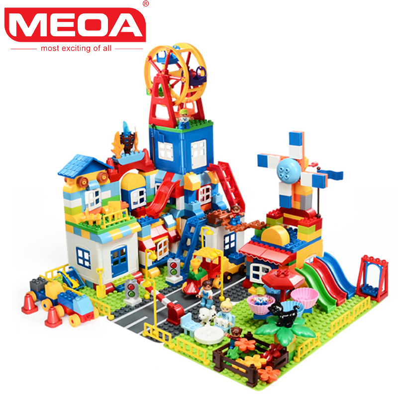 MEOA Super Amusement Big Building Blocks LegoINGly City 158pcs+200pcs Educational Toys For Children Compatible With Duplo Bricks