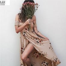 LZJ vestidos de festa BOHO estilo femenino verano largo vestido flojo playa del hombro gasa de la impresión floral retro vestido maxi blanco tamaño