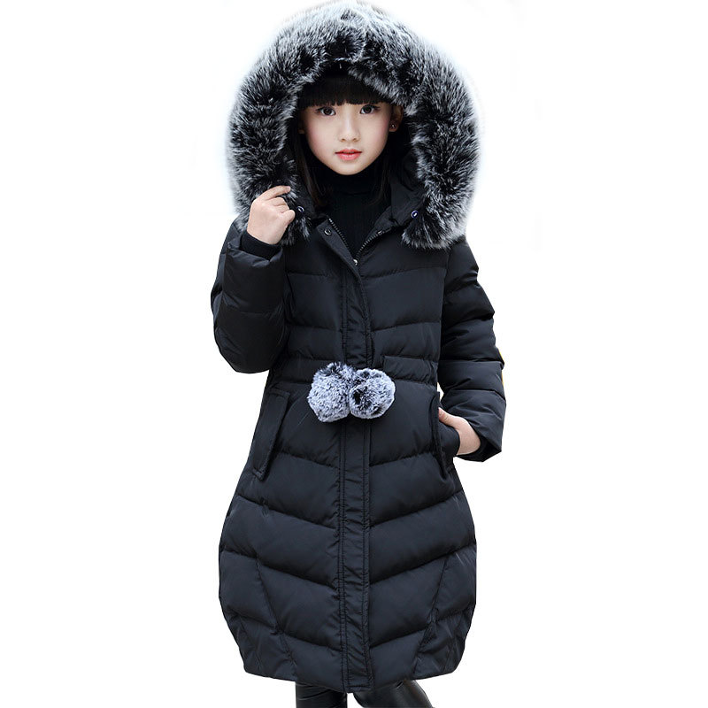 Winter warm Children Down Cotton jacket for Girls Coat Child Long hair collar thickening Collect waist Coat parka Outwear M02 waist belted solid long coat