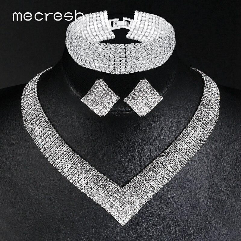 Mecresh Bridal-Jewelry-Set Necklace-Sets Wedding-Bracelets Rhinestone Women Crystal Classic