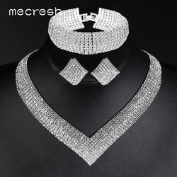 Mecresh роскошный классический кристалл свадебный набор украшений для женщин прозрачные стразы свадебный набор из ожерелья и браслета 2018 TL475 + ...