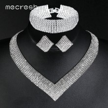 Mecresh Luxury Classic Crystal Bridal Jewelry Set for Women Clear Rhinestone Wedding Bracelets Necklace Sets 2018 TL475+SL341(China)