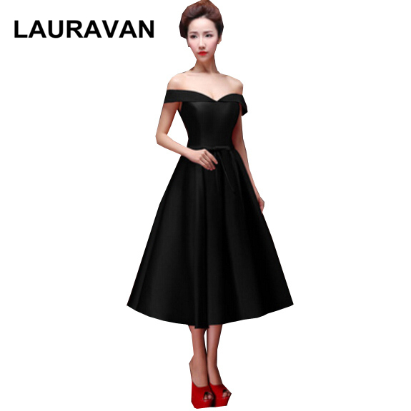 princess for adults occasional   dresses   teen woman's black tea length   bridesmaid     dress   for special occasions free shipping