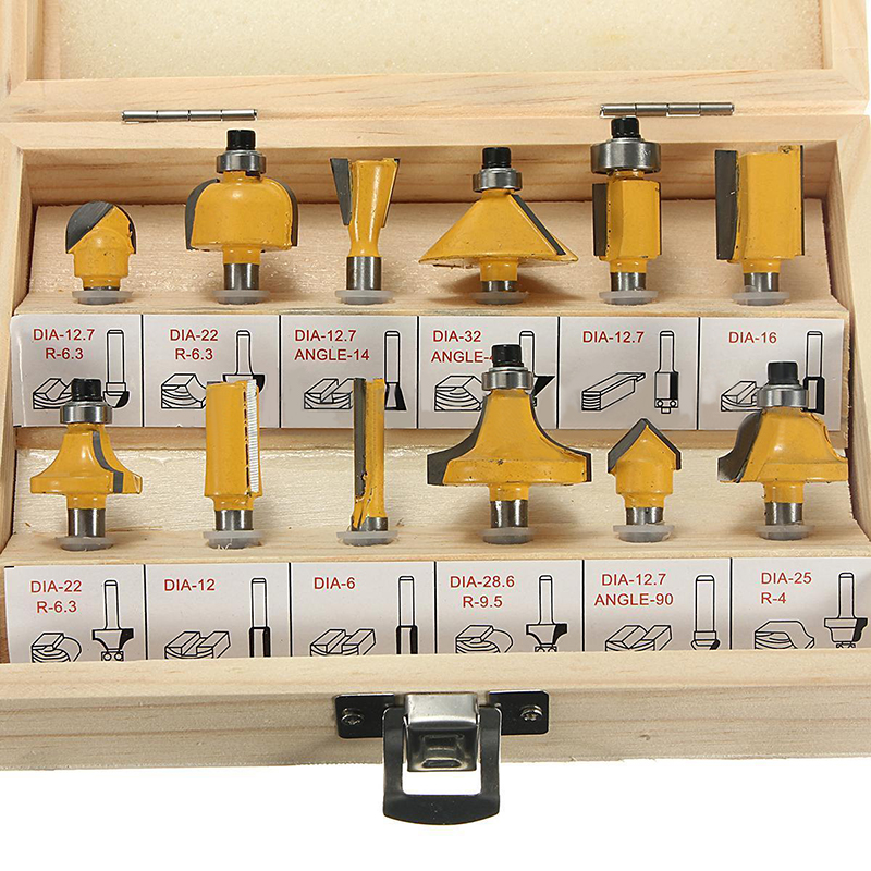 12pcs 1/4'' Shank Carbide Router Bit Set + Wrench with Wooden Box For Woodworking Cutter Tool [15 pcs router bit set] woodworking milling cutters for wood router woodworking machine free shipping yg8 carbide wooden box