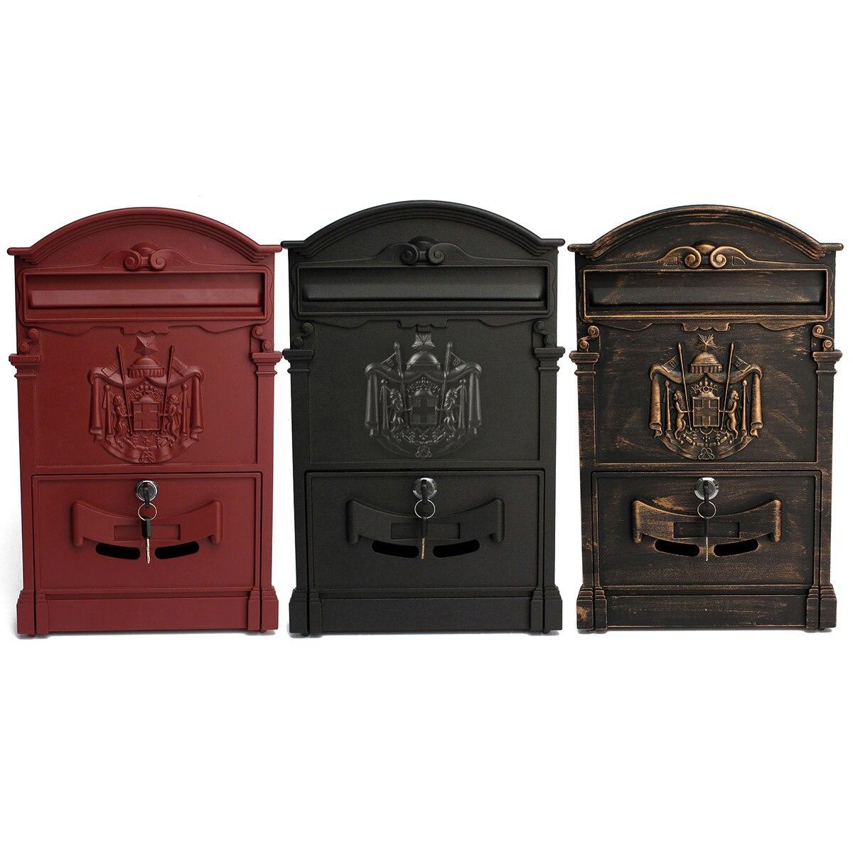 Heavy Duty Aluminium Verrouillable Secure Mail Lettre Boîte aux Lettres Boîte Aux Lettres Boîte Aux Lettres Rétro Vintage Boîte aux Lettres En Métal Ornement De Jardin