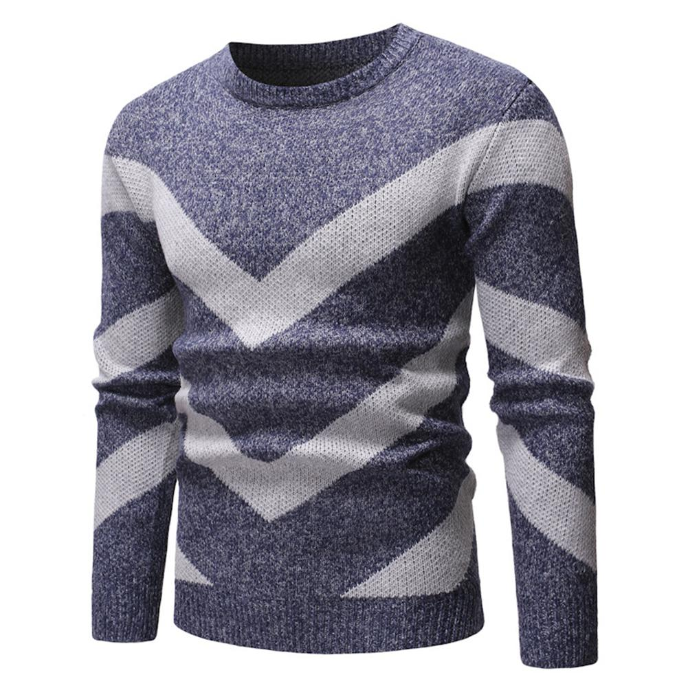 Men Color Block Wavy Stripe Round Neck Long Sleeve Slim Fit Sweater Top