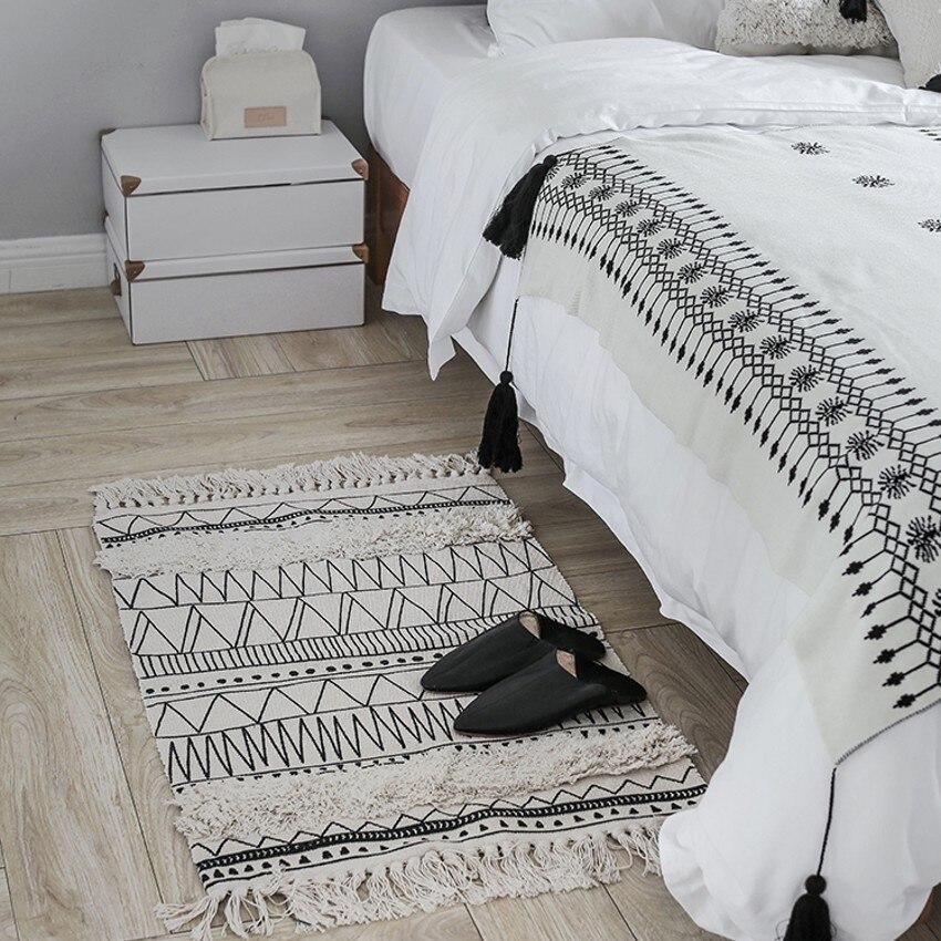 Tapis de sol en coton géométrique fait main multifonction de style nordique, tapis de porte, tapis de chevet de décoration, tapis de salle de bain en coton