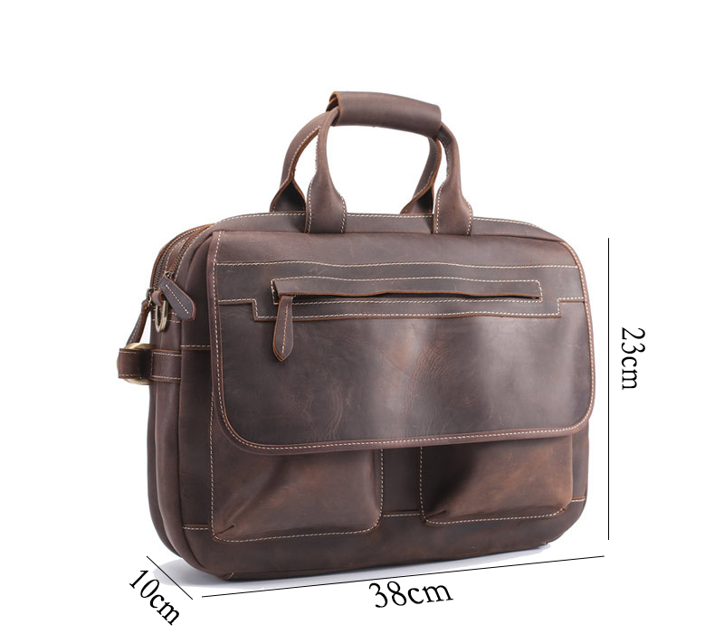Messenger Brown Hommes Horse Pc Véritable Laptop D'épaule documents Double De Bag Vintage En Cuir Crazy D'affaires Poche Sac Dark Porte K3TFJul1c5